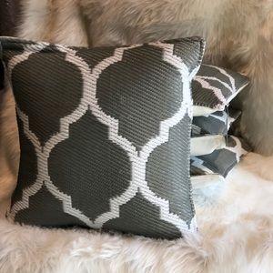 Grey Outdoor Pillows 20x20 Set of 4